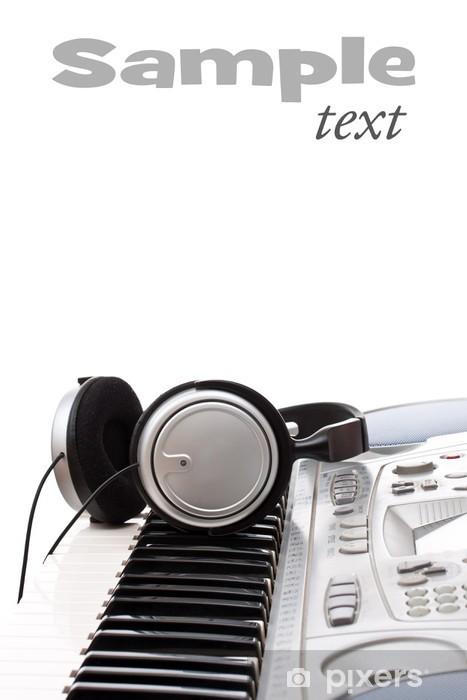 Pixerstick Aufkleber Kopfhörer auf der Tastatur - Musik