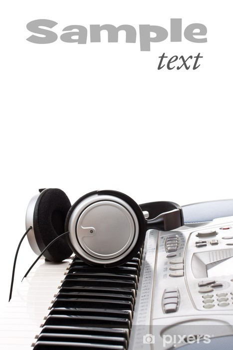 Vinyl-Fototapete Kopfhörer auf der Tastatur - Musik