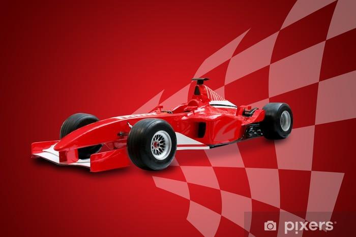Poduszka dekoracyjna Czerwony samochód Formuły i flaga wyścigów - Tematy