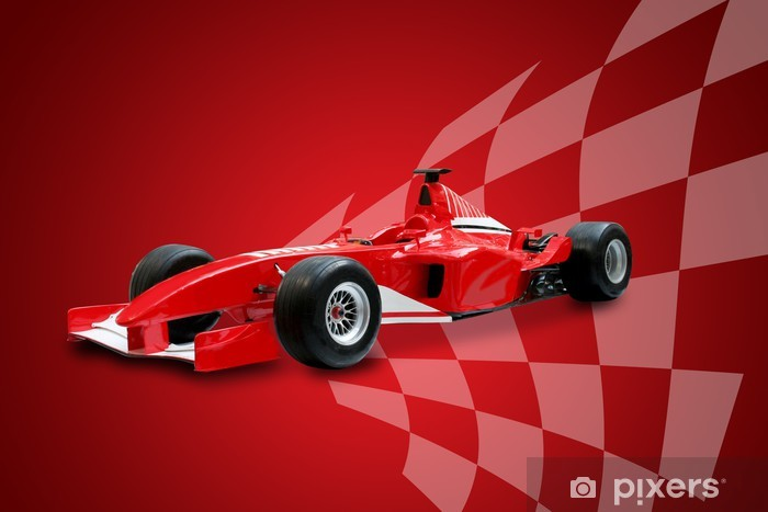 red formula one car and racing flag Pixerstick Sticker - Themes