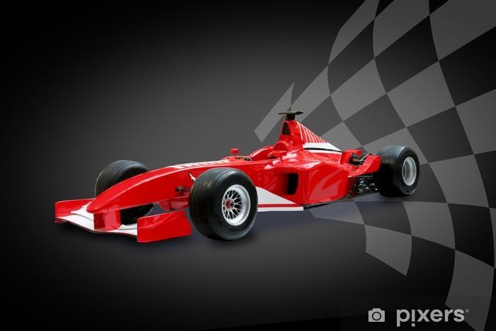 Naklejka Pixerstick Czerwony samochód Formuły i flaga wyścigów - Tematy
