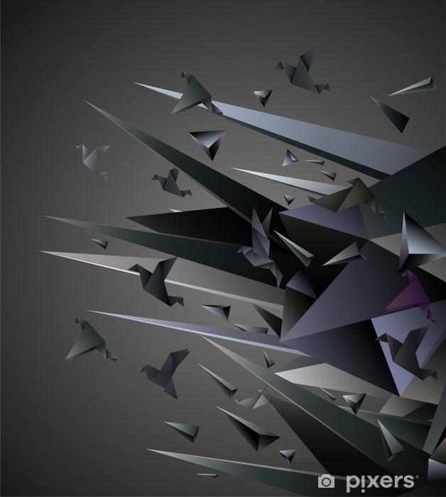 Fototapeta zmywalna Ucieczka papieru, origami ilustracji abstrakcyjna. -