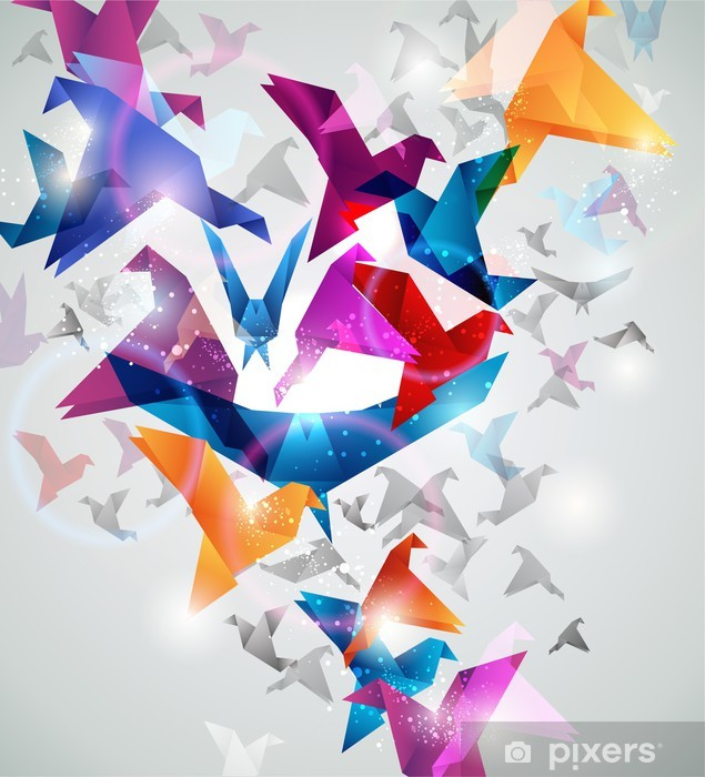 Paper Flight. Origami Birds. Abstract Vector Illustration. Vinyl Wall Mural - Styles