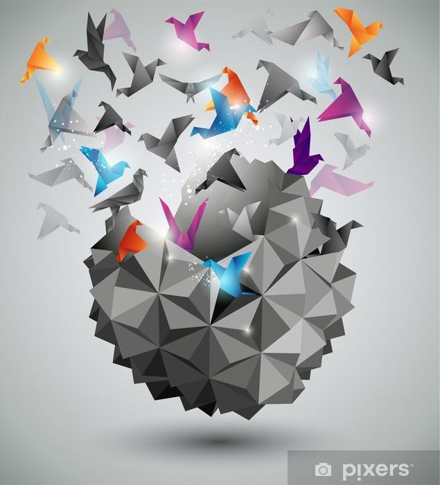 Paperi vapaus, origami abstrakti vektori kuva. Vinyyli valokuvatapetti -