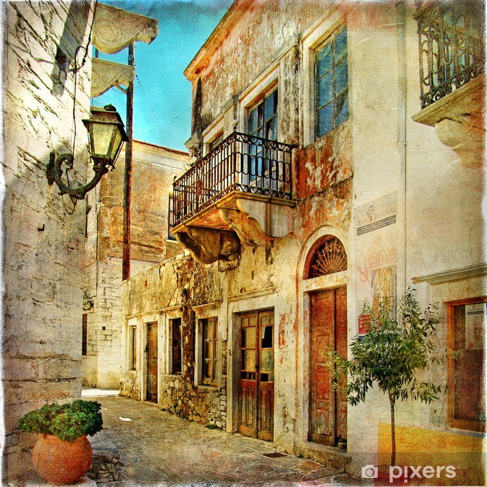 pictorial old streets of Greece Vinyl Wall Mural -