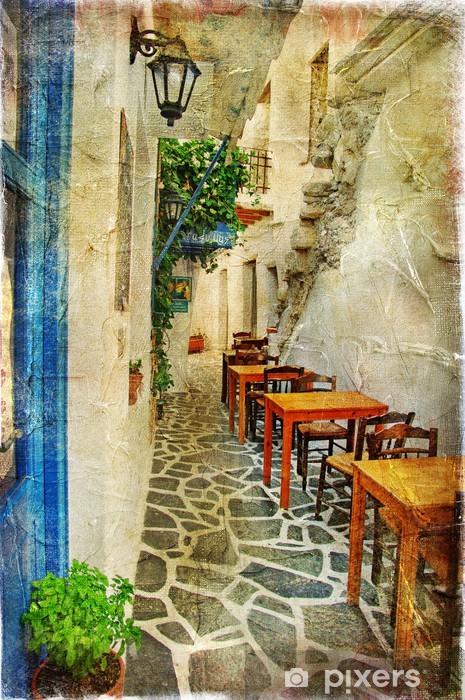 Vinyl-Fototapete Traditionelle griechische Tavernen-künstlerisches Bild - Themen