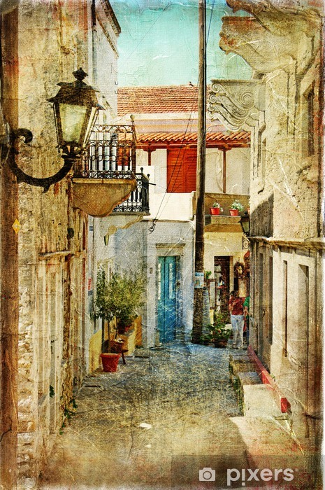 old greek streets- artistic picture Vinyl Wall Mural -
