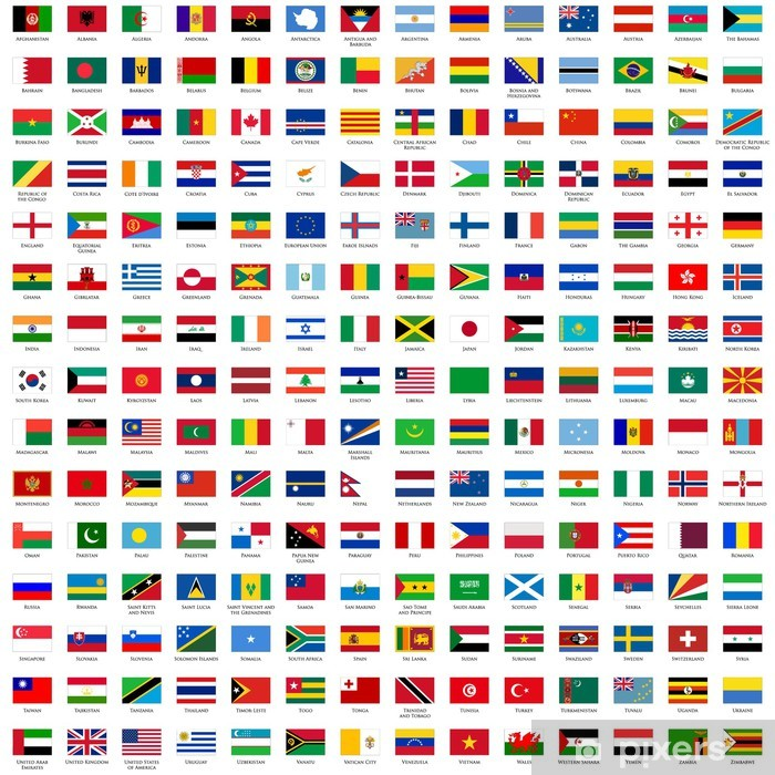 alphabetically sorted flags of the world Vinyl Wall Mural - Signs and Symbols