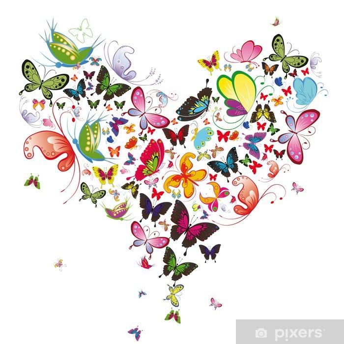 Sticker Pixerstick Papillon coeur, valentine illustration. Element for design - Destin