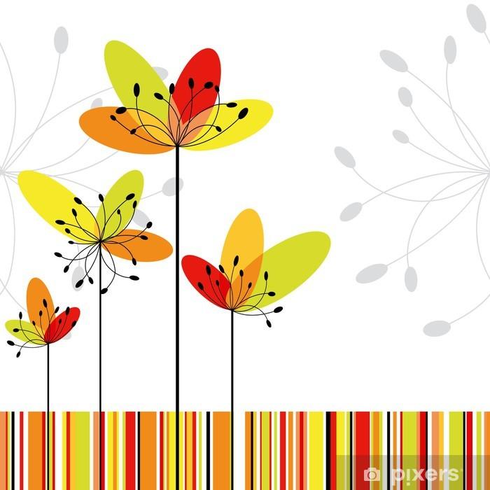 Poster Printemps fleur abstraite sur fond de rayure coloré - Arrière plans