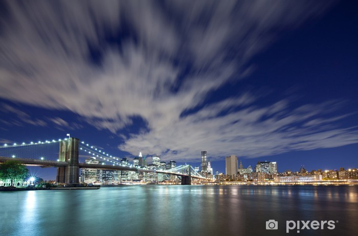 Sticker Pixerstick Pont de Brooklyn et Manhattan toits de la ville - Brooklyn Bridge