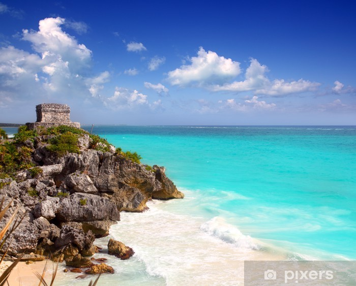 Pixerstick Sticker Oude Maya-ruïnes van Tulum Caribbean turquoise - Amerika