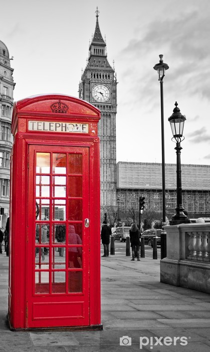 Red phone booth in London with the Big Ben in black and white Self-Adhesive Wall Mural -