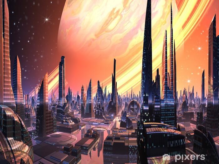 Sticker Pixerstick Parfait Ville Alien avec la planète d'anneau - Espace