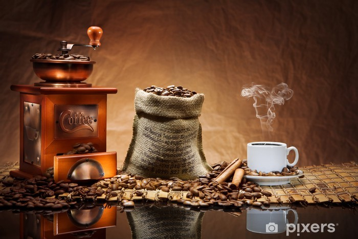 coffee accessories on mat Vinyl Wall Mural - Themes
