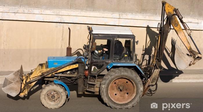 Sticker Pixerstick La construction de routes tracteur pelle pelle niveleuse - Industrie lourde