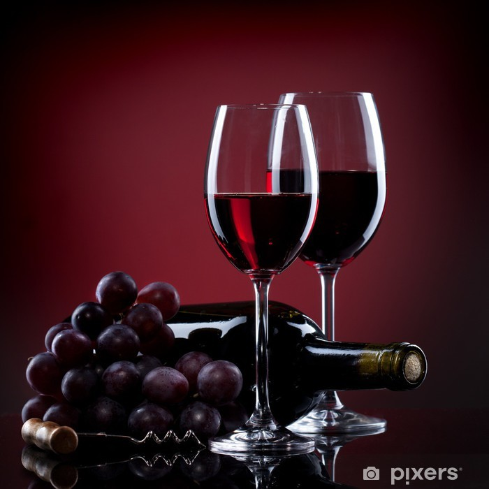 Wine in glasses with grape and bottle on red Pixerstick Sticker - Culinary