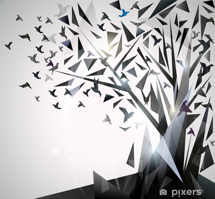Vinyl-Fototapete Abstrakter Baum mit Origami-Vögel. - Themen