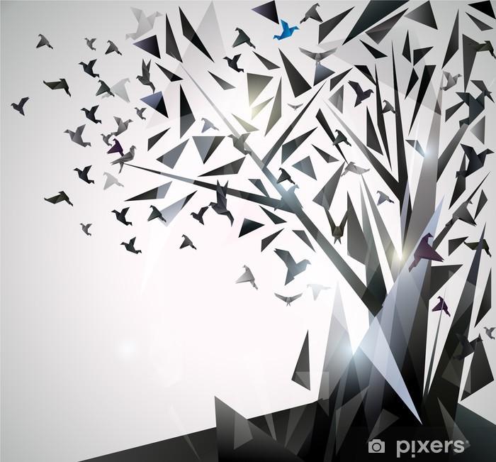 Sticker Pixerstick Arbre abstrait avec des oiseaux en origami. - Thèmes