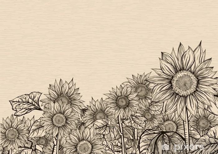 Aiming towards the sky. Sunflowers Vinyl Wall Mural - Flowers