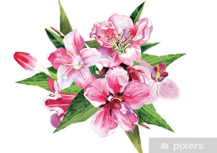 Papier peint vinyle Arrangement de fleurs rose - Merveilles naturelles