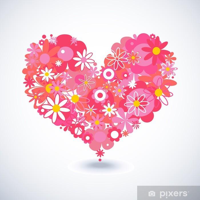 Naklejka Pixerstick Piękny kwiatowy serca - Szczęście
