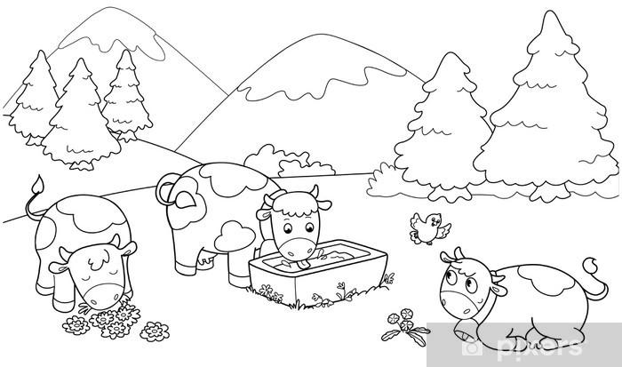 Mucche In Montagna Illustrazioni Da Colorare Per Bambini Sticker