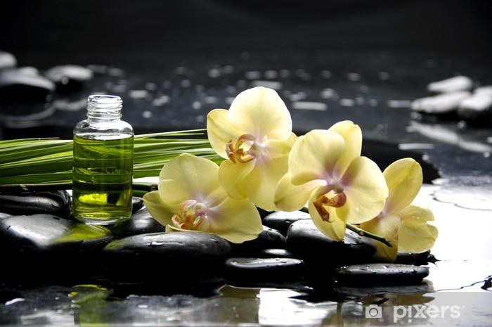 Vinylová fototapeta Lázně s orchidejí a esenciální olej a palmový list - Vinylová fototapeta