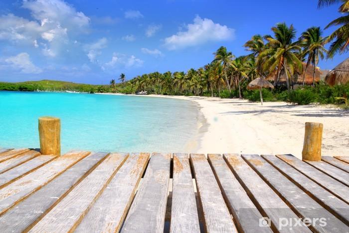Pixerstick Sticker Contoy Island palm treesl caribbean beach Mexico - Thema's