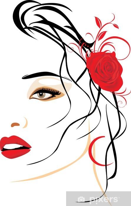 Portræt af smuk kvinde med rød rose i hår Selvklæbende fototapet -
