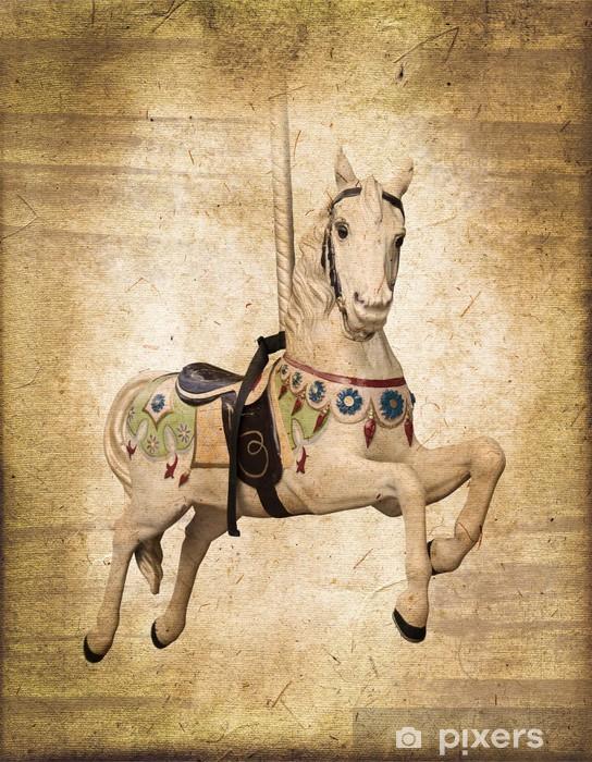 Adesivo Pixerstick Cavallo di legno su una giostra, stile vintage - Stili