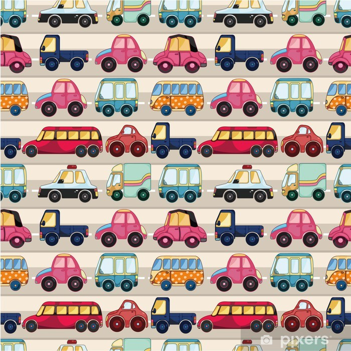 Vinyl-Fototapete Nahtlose cartoon car pattern. - Für Kindergartenkind