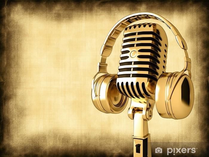 Pixerstick Dekor Mikrofon med hörlurar på gamla bakgrund - Hio hop
