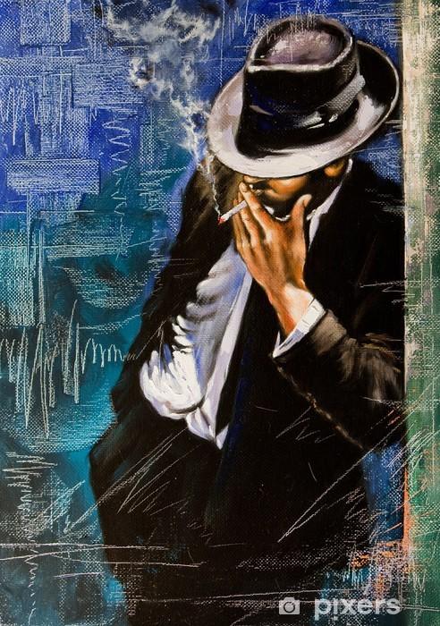 Vinilo Pixerstick Retrato de un hombre con un cigarrillo - Estilos
