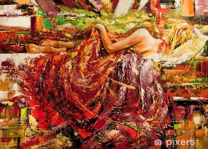 Fototapeta winylowa Spanie dziewczyna rysowane przez olej na płótnie - Style