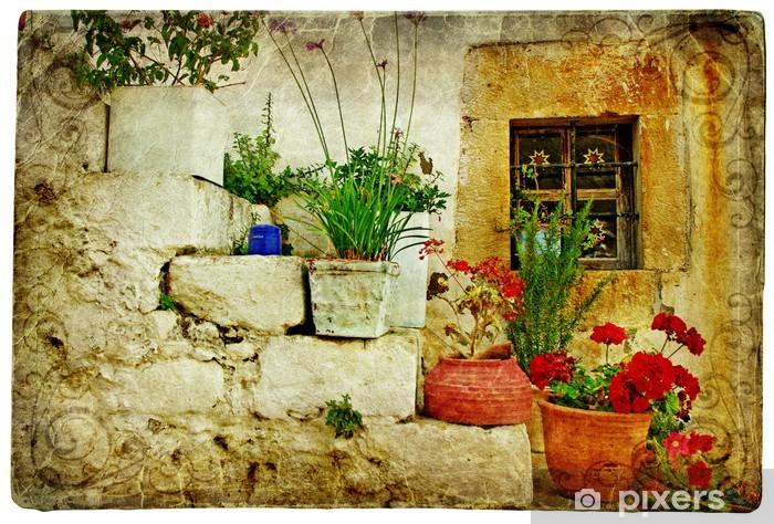 Vinil Duvar Resmi Yunanistan eski köy - sanatsal retro tarzı -