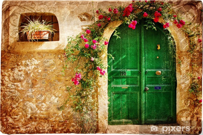 old Greek doors - retro styled picture Pixerstick Sticker - Themes