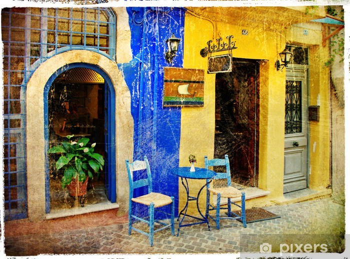 pictorial old streets of Greece - Chania, Crete Vinyl Wall Mural - Europe