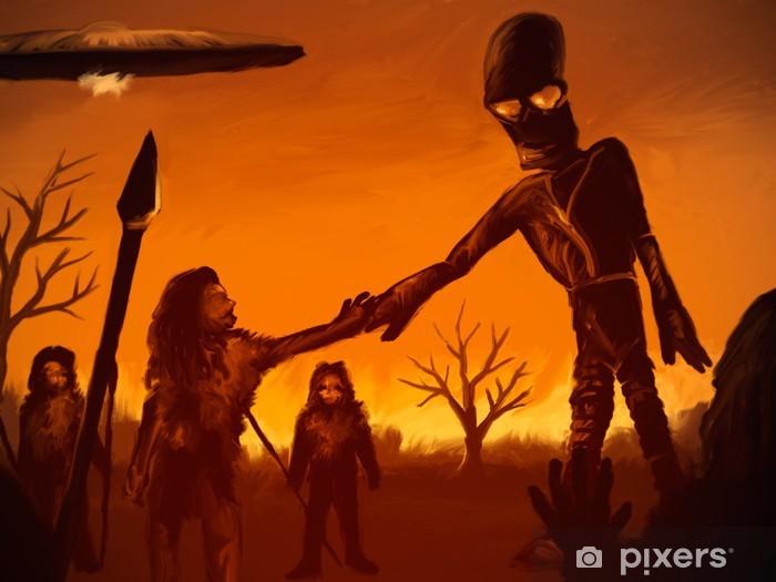 Carta da parati pittura di un uomo preistorico alieno incontro