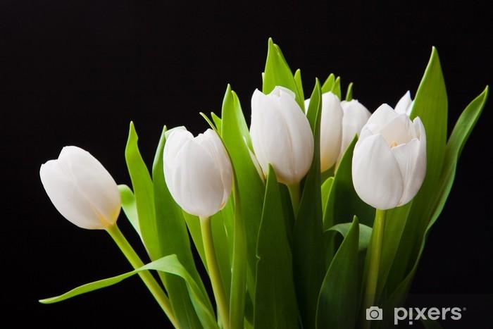 Papier peint vinyle Bouquet de tulipes blanches sur fond noir - Thèmes