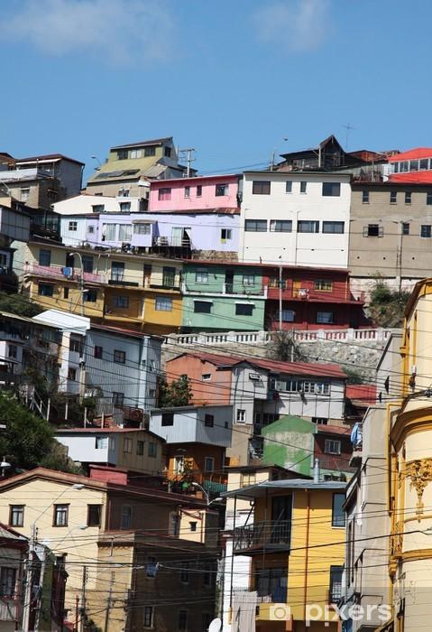 Naklejka Pixerstick Kolorowe domy w Valparaiso Chile - Ameryka