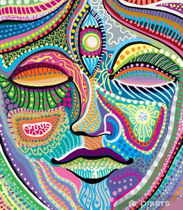 abstract woman face with multicolored indian pattern Vinyl Wall Mural - Faces