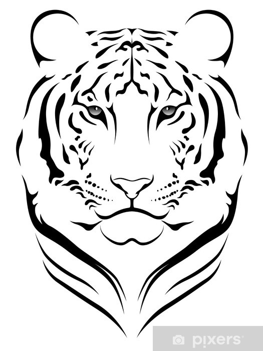 Sticker Vector Tijger Tattoo Pixerstick