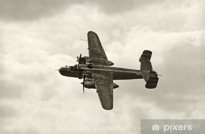 Old bomber in flight Pixerstick Sticker - Themes