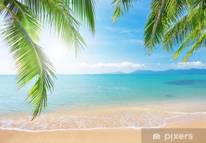 Çıkartması Pixerstick Palm ve tropikal plaj -