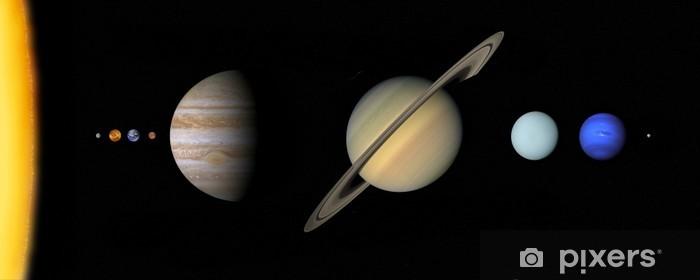 Papier peint vinyle Système solaire à l'échelle - Planètes