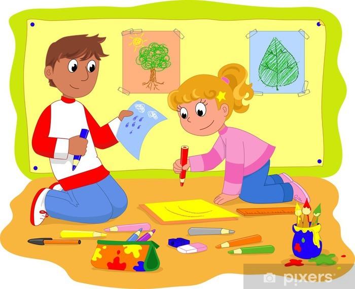 38b87a6fb0b398 Fotobehang Jongen en meisje tekening op school • Pixers® - We leven ...