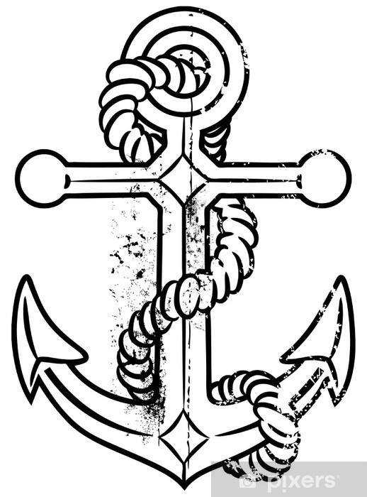 Sticker Pixerstick Vieille ancre - Signes et symboles