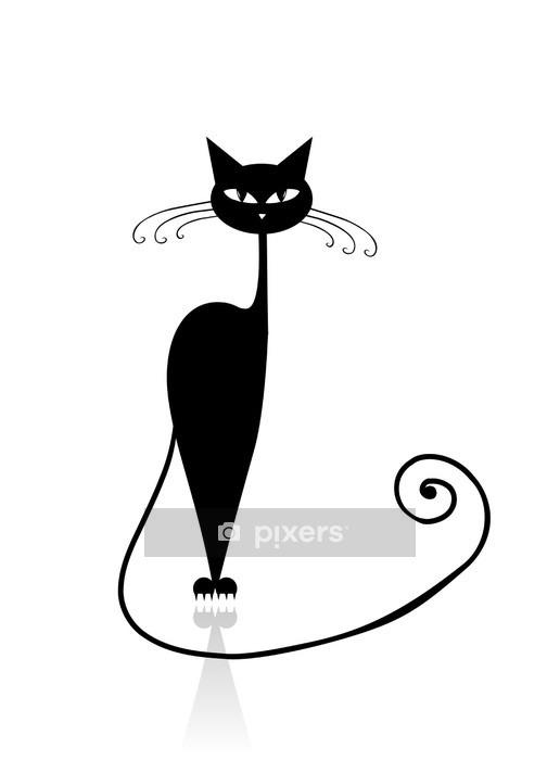 Sticker mural Silhouette de chat noir pour votre conception - Destin