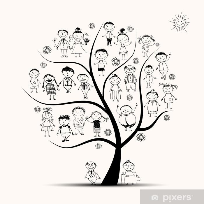 Fototapeta winylowa Drzewo genealogiczne, krewni, ludzie szkic - Drzewa
